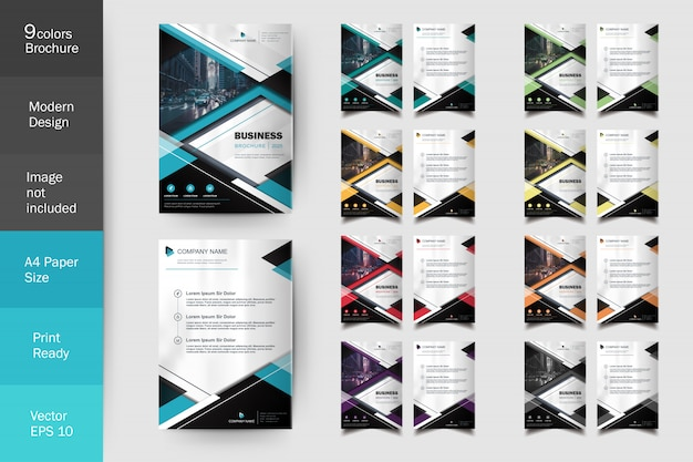 Moderne multi color flyer broschüre vorlagensatz