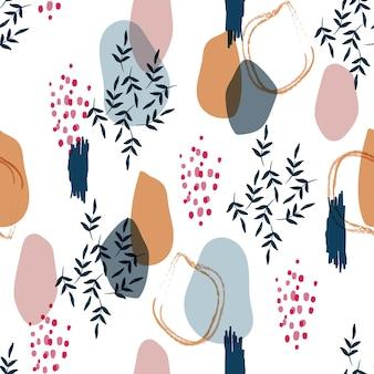 Moderne nahtlose muster künstlerische pinselstrich und silhouette botanische vektorillustration eps 10, design für mode, stoff, textilien, tapeten, cover, web, verpackung und alle drucke auf weiß