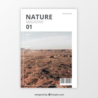 Moderne naturmagazin-abdeckungsschablone mit foto