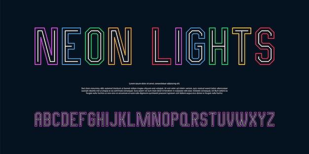 Moderne neon-effekt-alphabet-schriftart