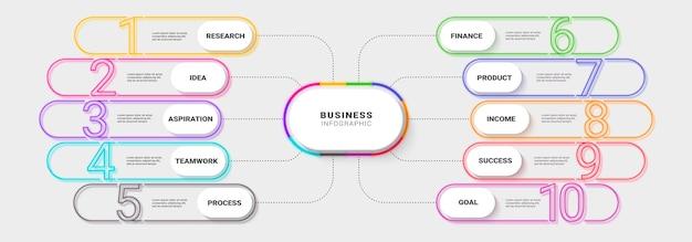 Moderne neon thin line infografik vorlage für den erfolg