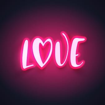 Moderne neonkalligraphie zum valentinstag