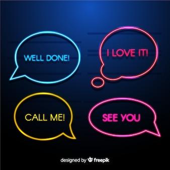 Moderne neonspracheblasen mit verschiedenen ausdrücken