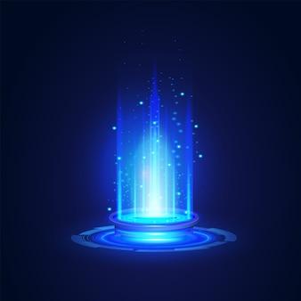 Moderne netzwerkwissenschaft technologie zukunft abstrakt, portal und hologramm futuristische kreiselemente. illustration design-vorlage