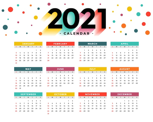 Moderne neujahrskalendervorlage