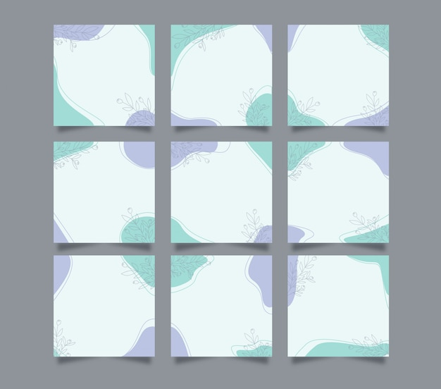 Moderne niedliche social media instagram post hintergrundvorlage im raster-puzzle-stil