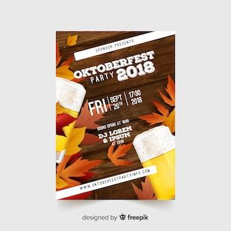 Moderne oktoberfest-fliegerschablone mit realistischem design