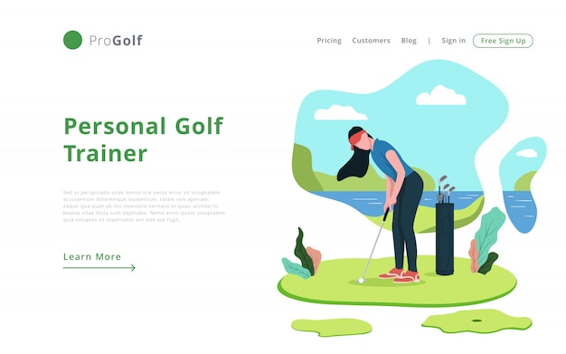 Moderne online-golf-trainer landing page template website-vorlage
