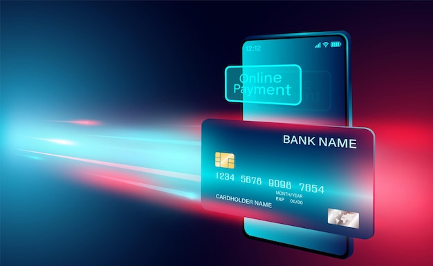 Moderne online-zahlung mit kreditkarte auf smartphone