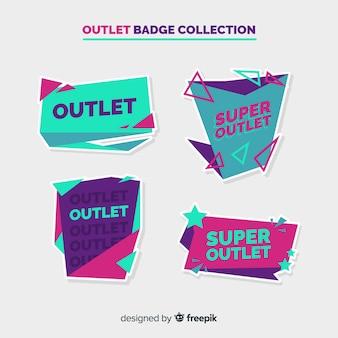 Moderne outlet-badge mit flachem design