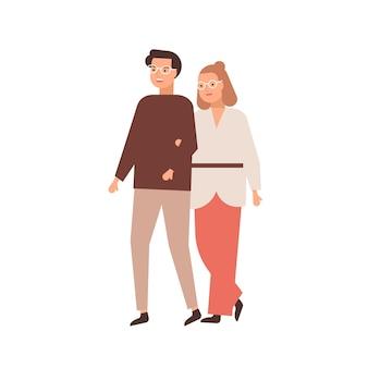 Moderne paare mittleren alters flachbild vector illustration. verheiratet, ehepaar, mann und frau. beziehung, familienspaziergang, liebes- und zärtlichkeitskonzept. mann und frau mit brillenzeichentrickfiguren.