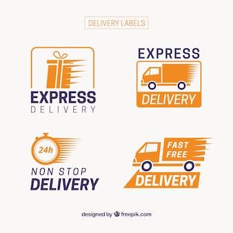 Moderne packung von express-versand etiketten