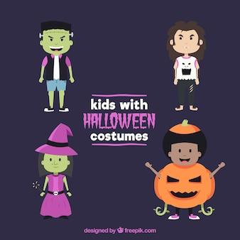 Moderne packung von halloween-kindern