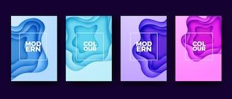 Moderne Papercut-bunte Plakatsammlung
