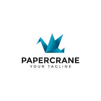 Moderne papierkran-origami-logo-design-schablone