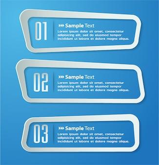 Moderne papiertextboxschablone, fahne infographics
