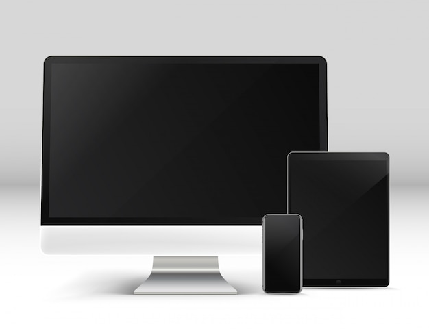Moderne personal computer und andere geräte auf einem tisch vektor fotoreal front