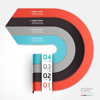 Moderne pfeil-kreis-optionen erweitern. workflow-layout, diagramm, nummernoptionen, webdesign, infografiken.