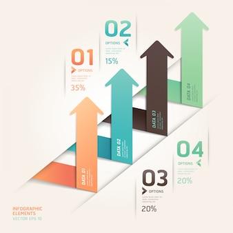 Moderne pfeil-origami-stil verstärken optionen. workflow-layout, diagramm, nummernoptionen, webdesign, infografiken.