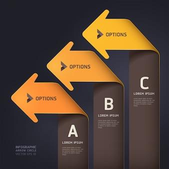 Moderne pfeilorigamiart steigern wahlschablone. workflow-layout, diagramm, webdesign, nummernoptionen, infografiken.