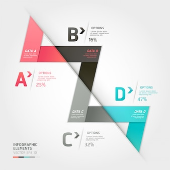 Moderne pfeilorigamiartwahlen. workflow-layout, diagramm, nummerierungsoptionen, optimierungsoptionen, webdesign, infografiken.