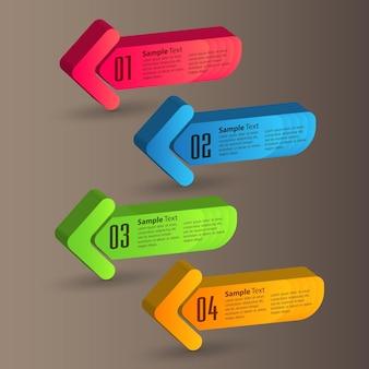 Moderne pfeiltextfeldschablone infografiken banner