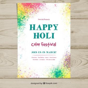 Moderne plakatschablone für das holi festival