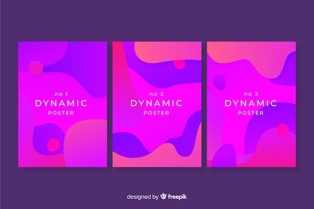 Moderne plakatschablone mit dynamischen formen