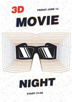 Moderne plakatvorlage für filmpremieren, filmfestival oder kinoshow mit 3d-brille vor weißem hintergrund mit schwarzen sprenkeln. vektorillustration für ereignisankündigung oder werbung.