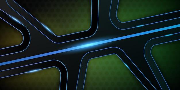 Moderne polygonform dimension abstrakte schichten hintergrund mit buntem licht