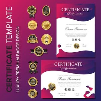 Moderne purpurrote zertifikathintergrundschablone