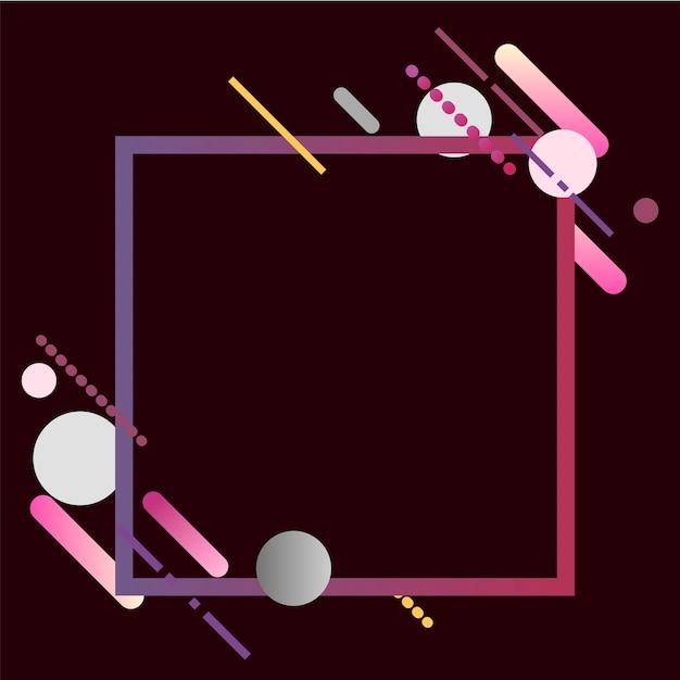 Moderne quadratische fahne in der bunten rahmenillustration