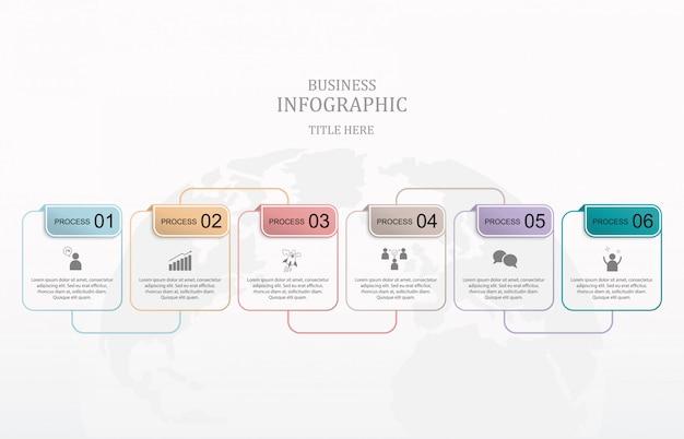 Moderne quadratische sechs box infografiken.