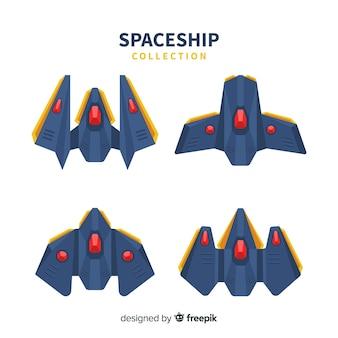 Moderne Raumschiffsammlung mit flachem Design