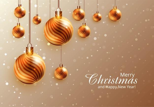Moderne realistische glänzende weihnachtskugeln auf kartenhintergrund