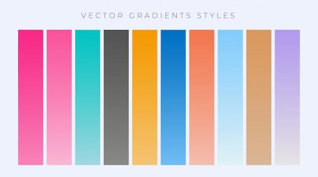 Moderne reihe von einfachen gradienten festgelegt