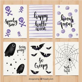 Moderne reihe von halloween-karten