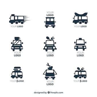 Moderne reihe von minimalistischen lebensmittel-lkw-logos