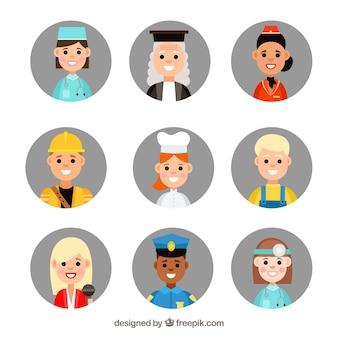 Moderne reihe von smiley-arbeiter avatare