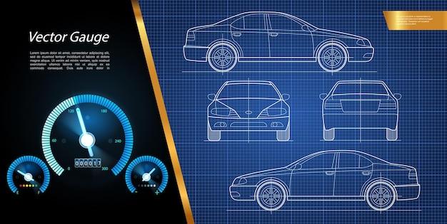 Moderne renn- und geschwindigkeitszusammensetzung mit der technischen zeichnung der illustration der automobil- und auto-armaturenbrett-anzeigen
