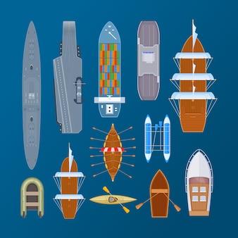 Moderne retro-wassertransport-set-draufsicht. yacht, hölzernes fischerboot, dampfschiff, kreuzfahrtpiratenschiff