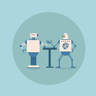 Moderne roboter, die das armdrücken-konzept spielen futuristische künstliche intelligenz-mechanismus-technologie