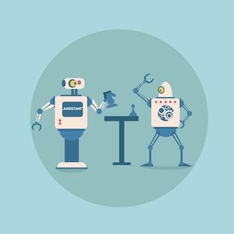 Moderne roboter, die schach-futuristische künstliche intelligenz-mechanismus-technologie spielen