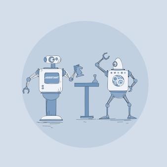 Moderne roboter, die schach-ikone, futuristische künstliche intelligenz-mechanismus-technologie spielen