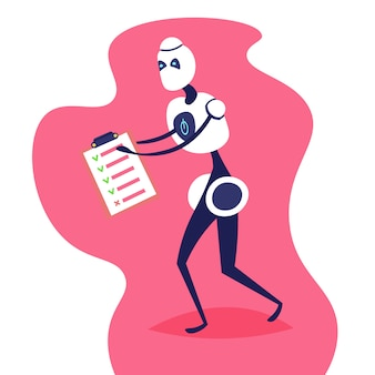 Moderne roboter halten checkliste zwischenablage helfer bot künstliche intelligenz-technologie