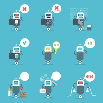Moderne roboter-ikonen stellten chat bot artificial intelligence technology concept ein