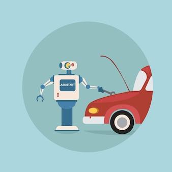 Moderne roboter-reparatur-auto-futuristische künstliche intelligenz-mechanismus-technologie