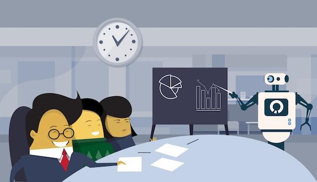 Moderne roboterpräsentation oder finanzbericht im büro während der brainstorming-sitzung