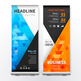 Moderne roll-up-banner mit bunten dreiecken