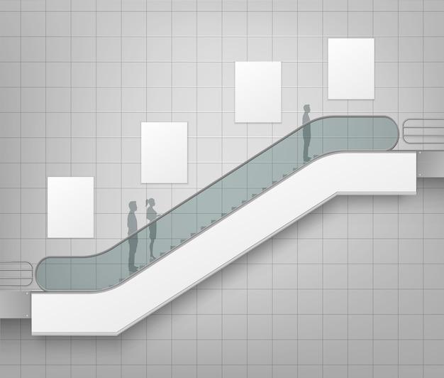 Moderne rolltreppe mit platz für werbung seitenansicht lokalisiert auf office mall shopping center business building innenhintergrund